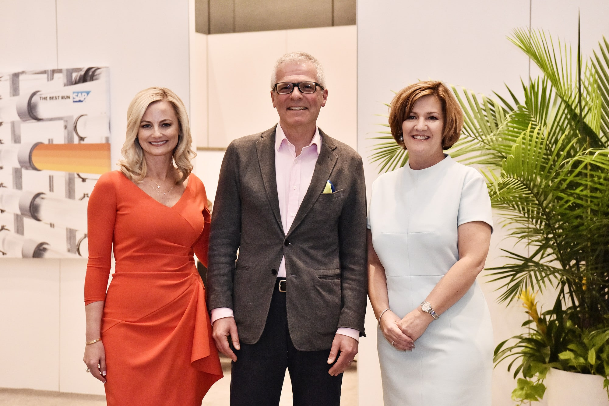 Picture of Michael Groves with (L) Alicia Tillman, Chief Marketing Officer, SAP and (R) Adaire Fox-Turner, Head of Global Customer Operations, SAP